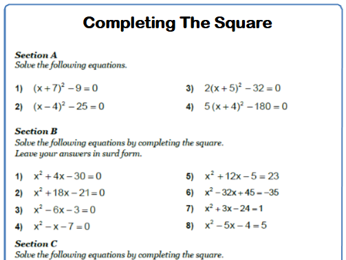 Completing The Square 9-1 GCSE Maths Worksheet