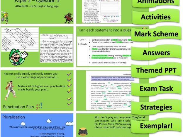 AQA 8700 English Language - Paper 2 - Question 5 - Gaming Grammar & Punctuation