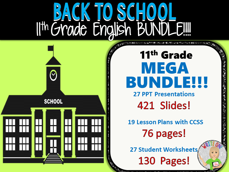 WRITING & GRAMMAR - BACK TO SCHOOL ENGLISH BUNDLE!!! - 11th Grade