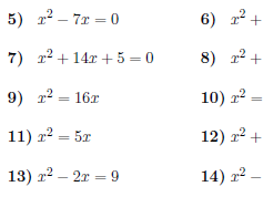 Solving quadratic equations by completing the square  worksheet (with solutions)
