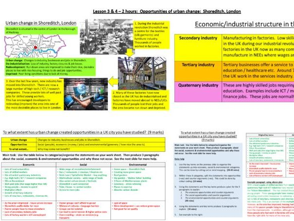 UK urban issues and challenges home learning booklets