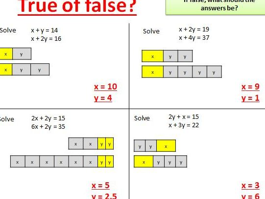 Solving simultaneous equations introduction - mastery style using bar models