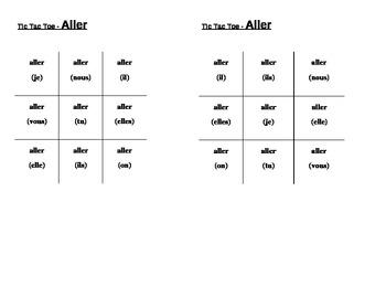 Aller Avoir Être Faire French verbs Tic Tac Toe