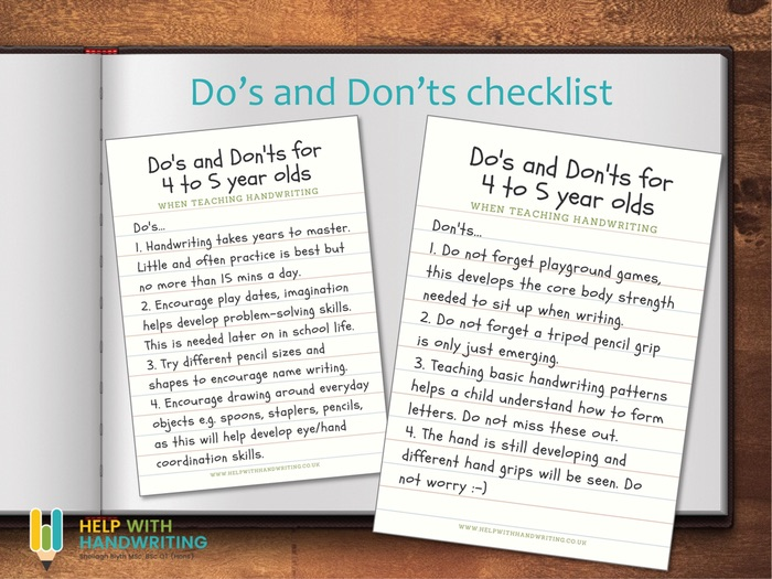 Teach handwriting: 4 to 5 years Do's and Don'ts guide
