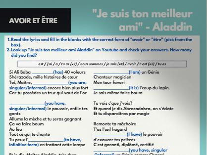 Réviser en chanson - Avoir et être (To have and to be - French)
