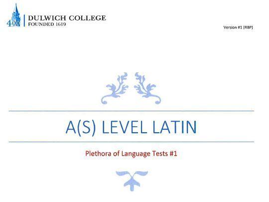 Plethora of Latin Language Tests #1