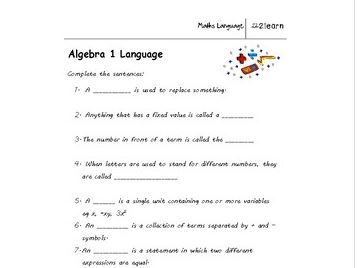 Math Language -  Algebra 1 Worksheet for 9-16 year old