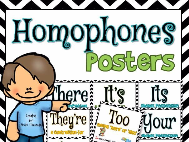 Homophone Posters: Set 1 (10 Posters Including There/They're/Their)