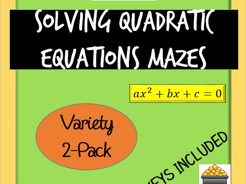 Solving Quadratic Equations Mazes 2-Pack