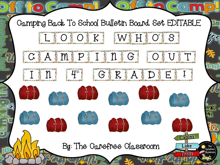 Bulletin Board Set EDITABLE: Camping Out Back To School Set