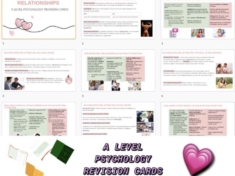 Relationships A level psychology revision cards