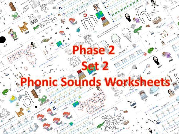 Phase 2 Set 2 Phonic Sounds Worksheets.