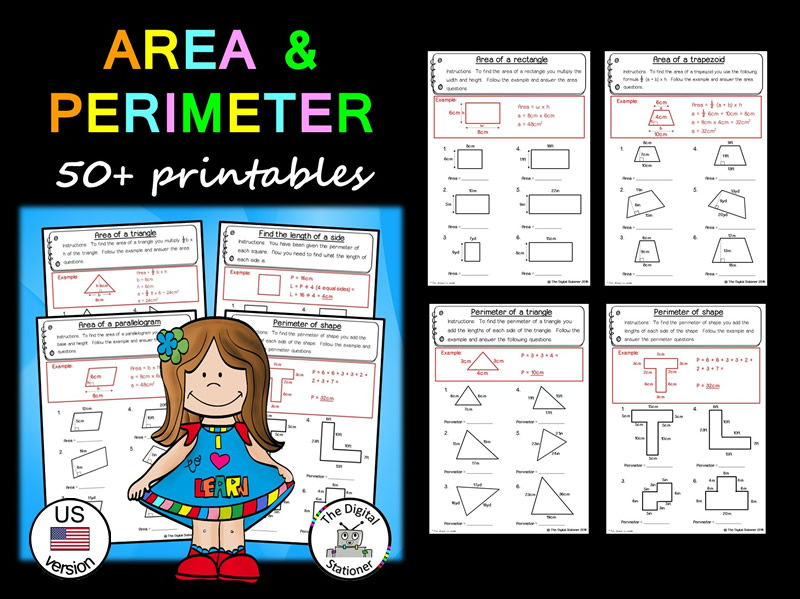 Area and Perimeter Pack (US version) - 50+ printables