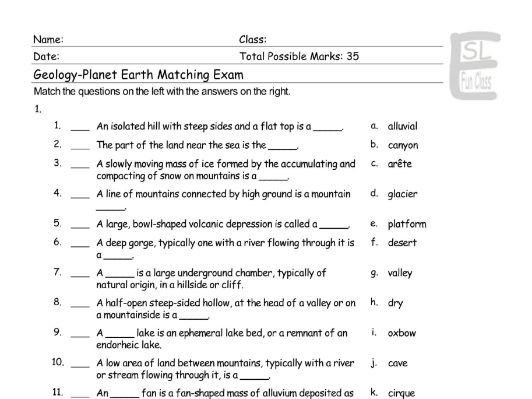 Geology-Planet Earth Matching Exam