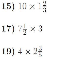 Multiplying mixed numbers and whole numbers-4 worksheets (with solutions)