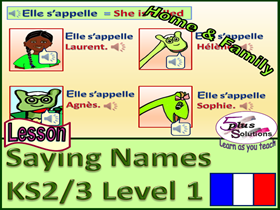 PRIMARY FRENCH LESSON (KS2/3):Name family and friends; S'appeler (Singular); Fun dinosaur characters