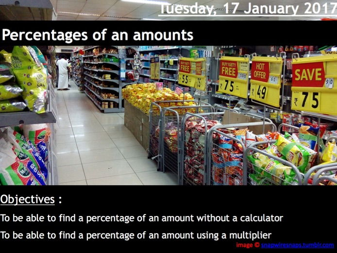 ProjectALesson: Percentages of Amounts