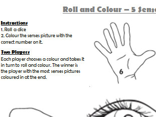 5 Senses Roll and Colour Dice Game