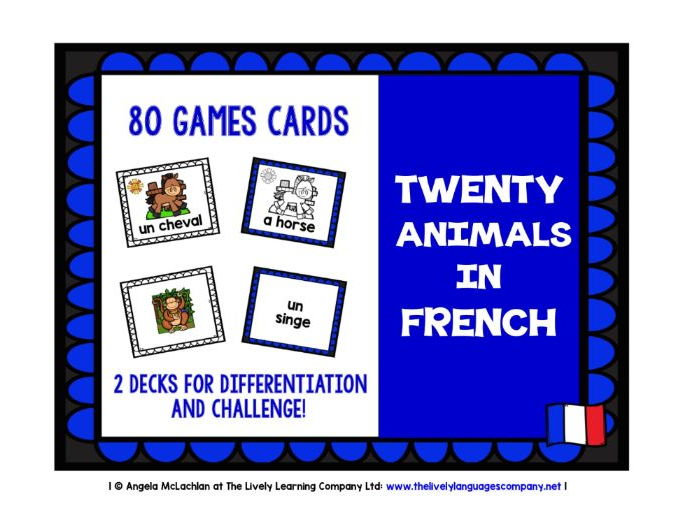FRENCH FOR CHILDREN - 80 ANIMALS GAMES CARDS & REFERENCE SHEET