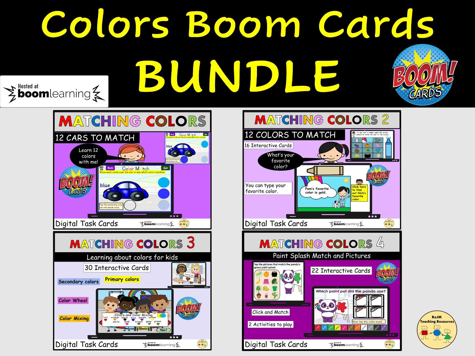 Colors Bundle Matching Colors  and Color Words Color Wheel BOOM Cards Distance Learning