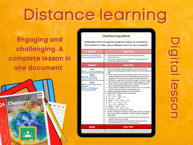 SC1.2 Chemical equations Distance learning (AQA GCSE Chemistry)