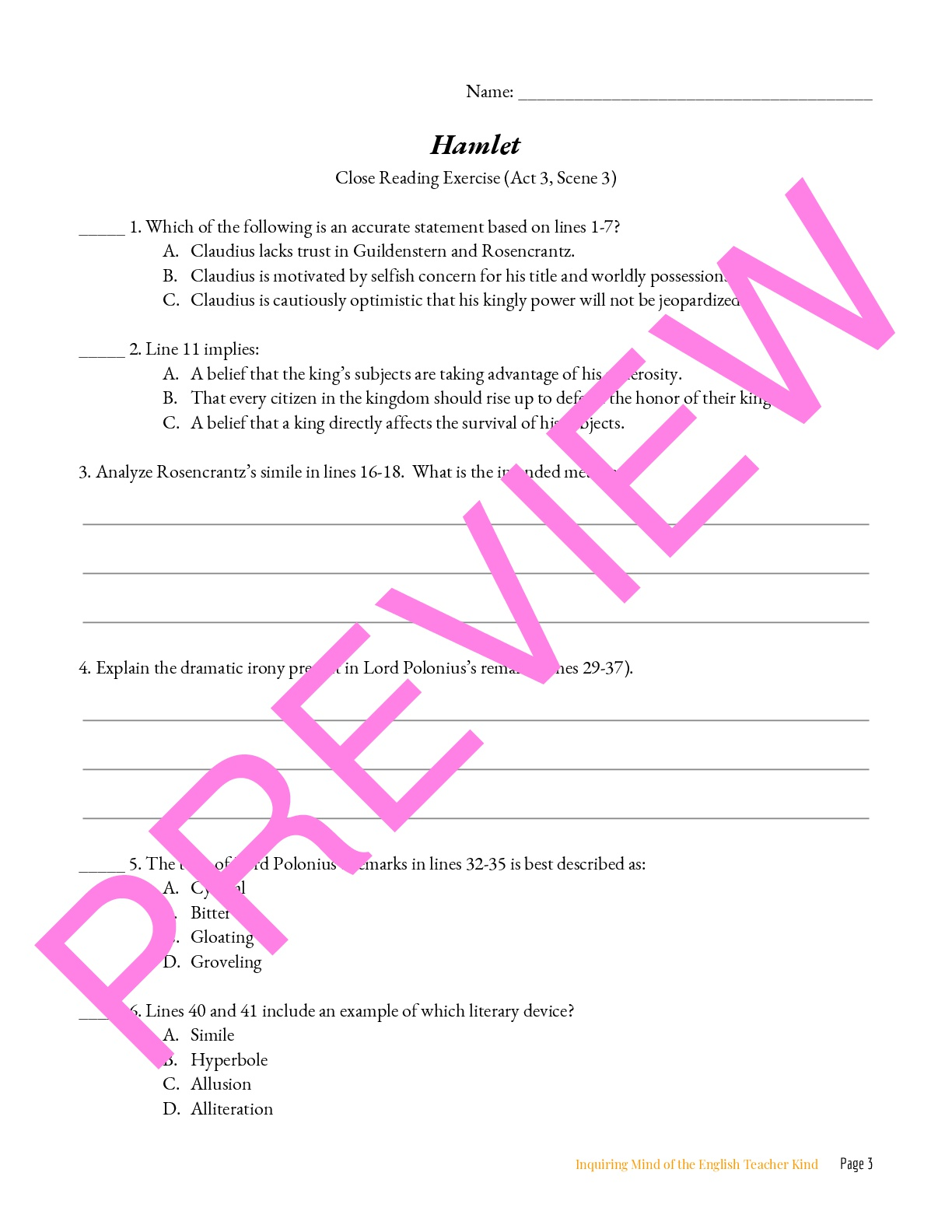 Hamlet Close Reading Worksheet Act 3 3 Teaching Resources [ 1584 x 1224 Pixel ]