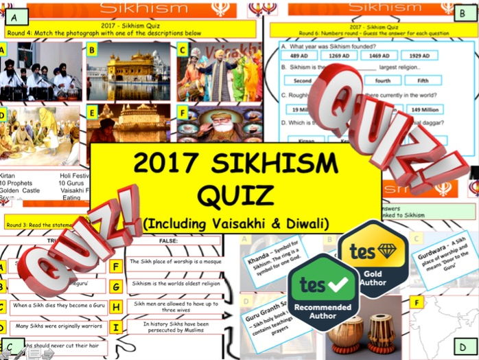 2017 - Sikhism Quiz including Vaisakhi & Diwali  - 7 rounds and over 40 Questions. Quiz