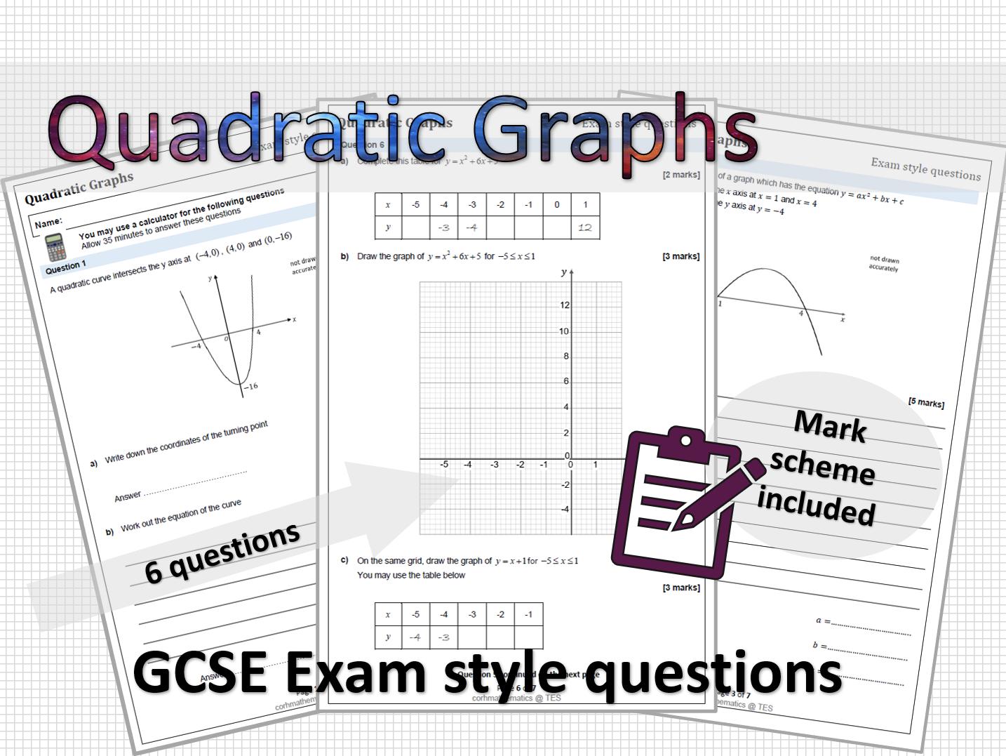 Quadratic Graphs exam style questions