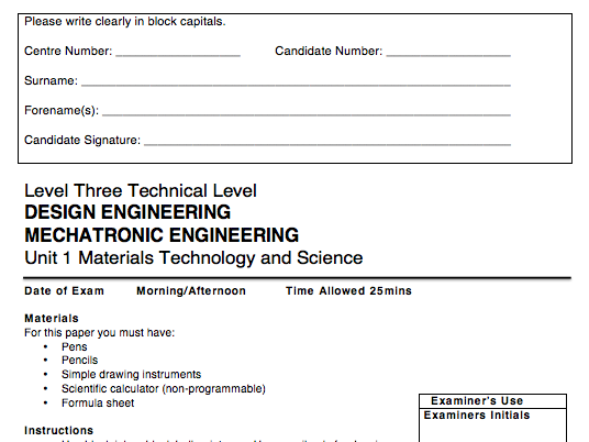 KS5 AQA Design & Mechatronic Engineering Tech Level Unit 1 Materials, Science & Technology Mocks (6)