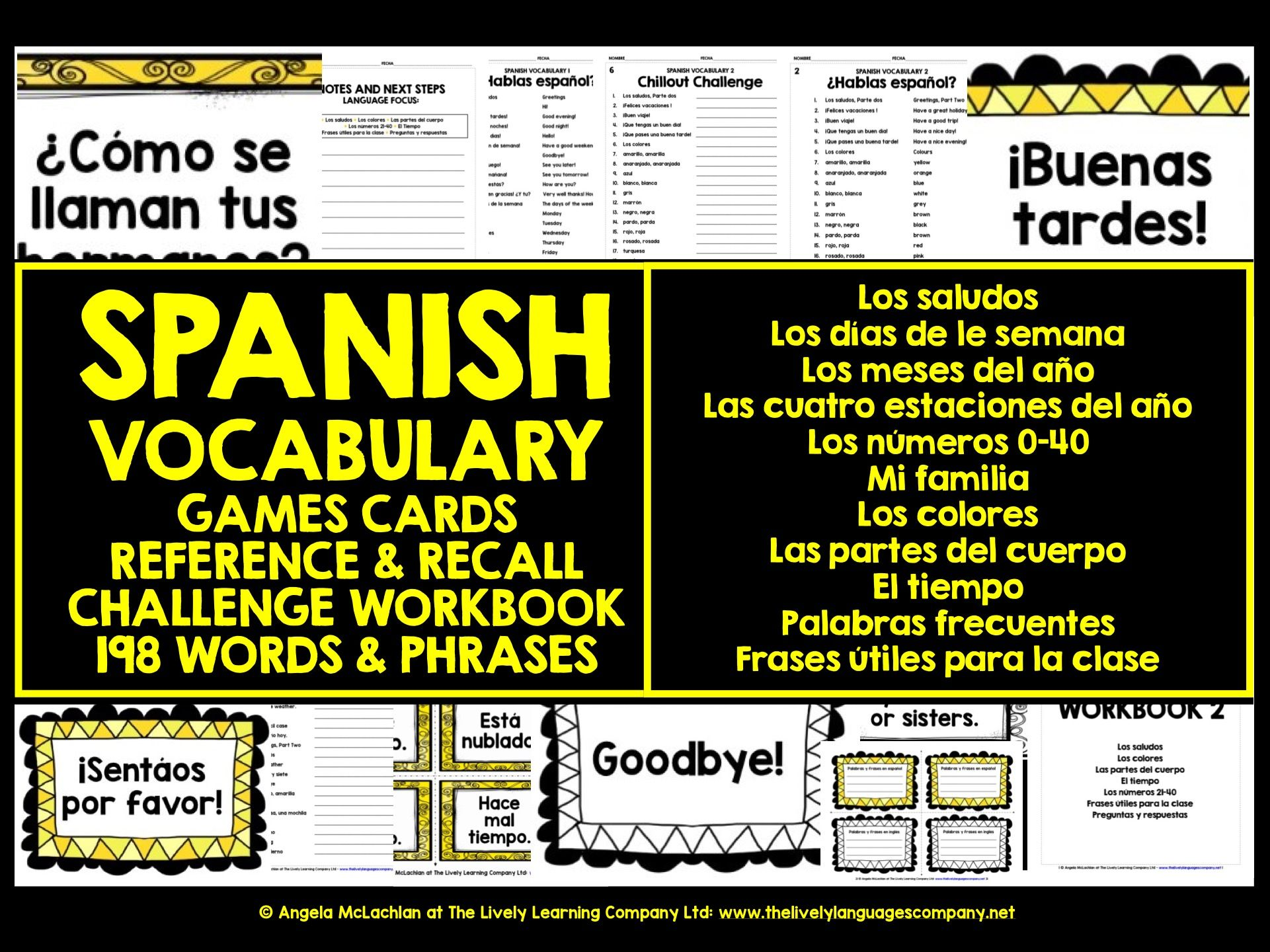 SPANISH VOCABULARY CARDS