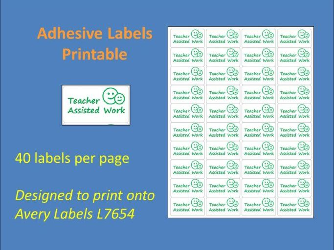 Teacher Assisted Work Adhesive Label Printable Time Saving Marking Sticky Label L7654