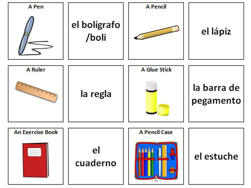 Stationary: Spanish Vocabulary Card Sort