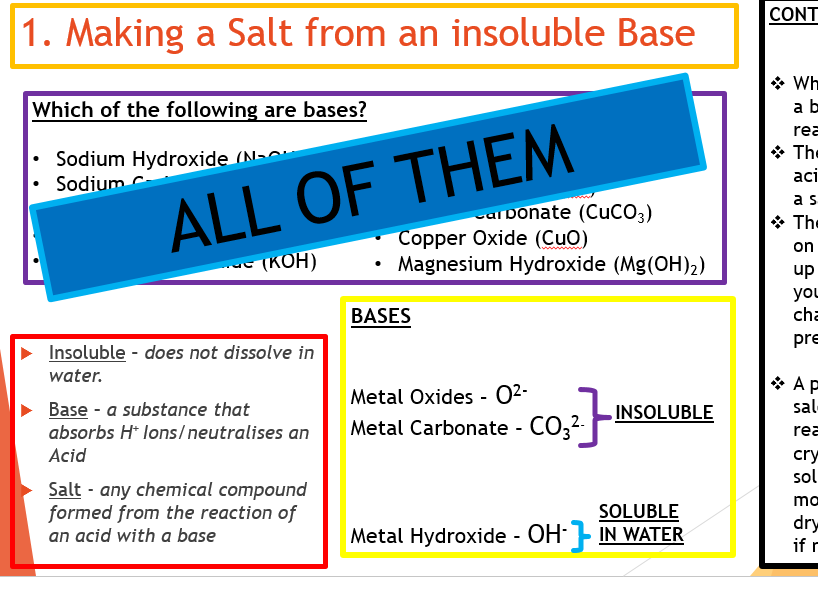 AQA Required Practical, Making a Salt from an Insoluble base