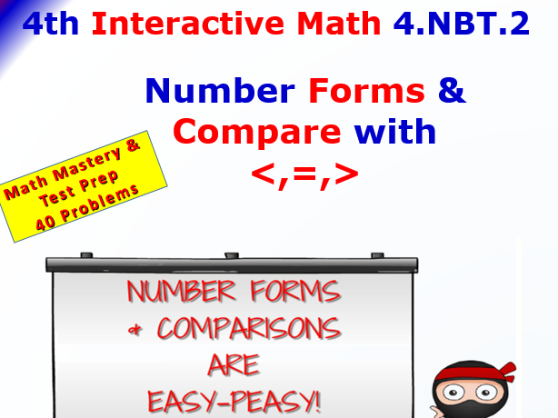 4.NBT.2 Math Interactive Test Prep – COMPARE WITH  for 4th Grade