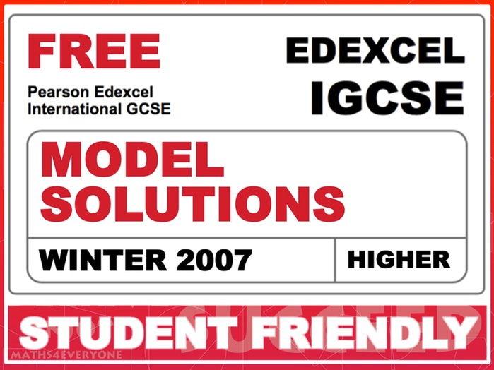 Exam Paper Solutions (IGCSE Winter 2007)
