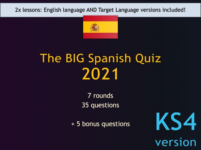 The BIG Spanish Quiz 2021 (KS4/GCSE version)