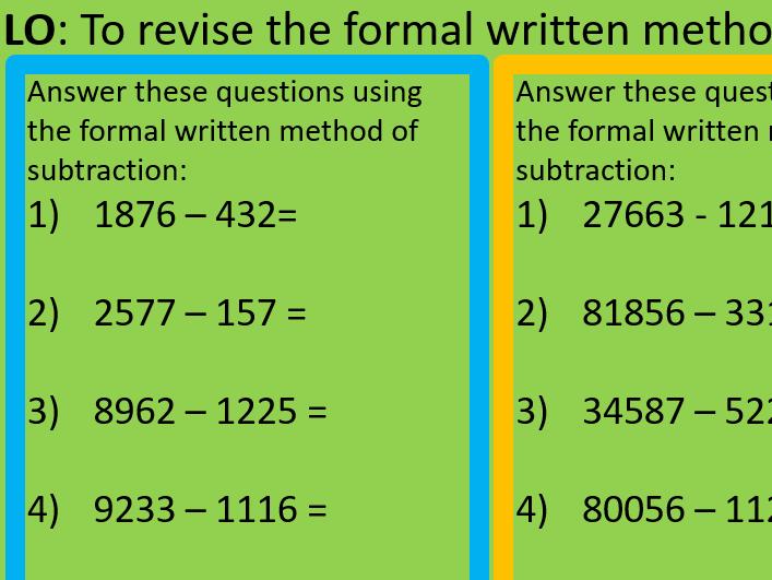 Formal written method subtraction year6