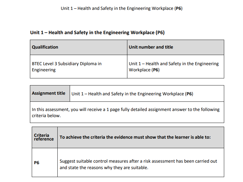 BTEC Level 3 Engineering: Unit 1 (P6) – Health and Safety in the Engineering Workplace