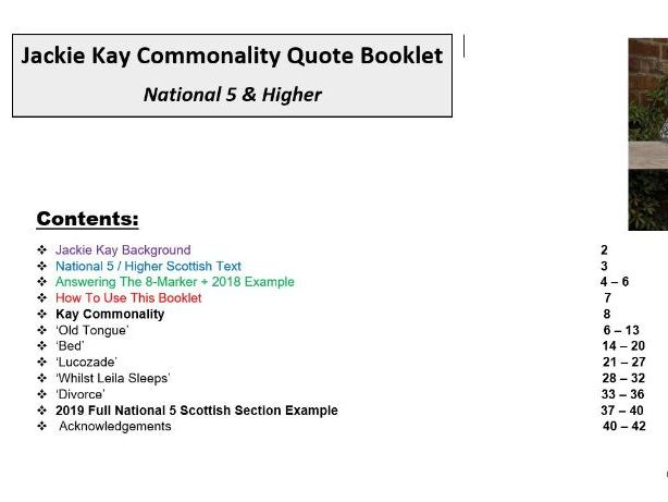 National 5 Scottish Text Quote Booklet: Jackie Kay