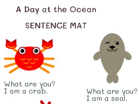 Oceans: Set of 4 vocab learning mats