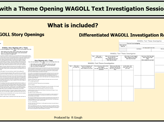 Story with a Theme Opening WAGOLL Investigation Session