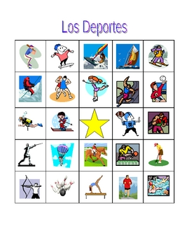 Deportes (Sports in Spanish) Bingo