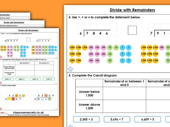 Year 5 Divide with Remainders Spring Block 1 Maths Discussion Problems