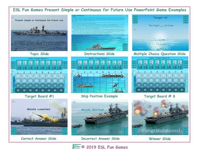 Present Simple or Continuous for Future Use English Battleship PowerPoint Game