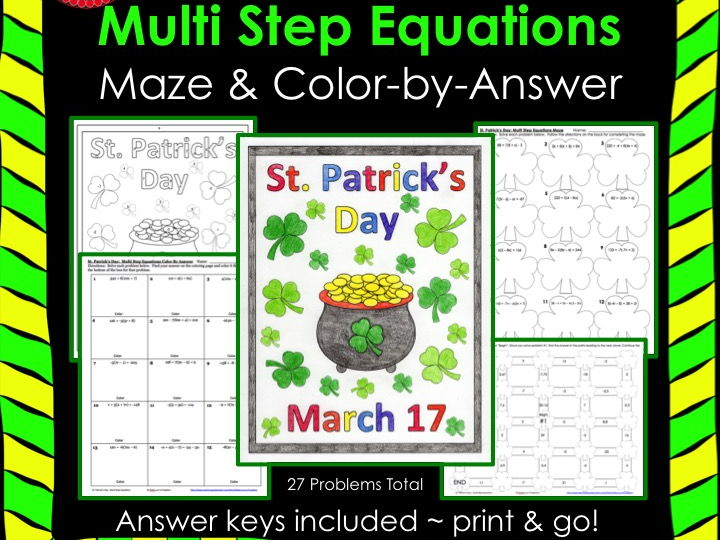 Solving Equations St. Patrick's Day Math Multi Step Equations Maze & Color by Number Bundle