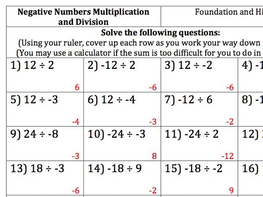GCSE Maths - 100 Negative Numbers Questions/Answers - Multiplication and Division
