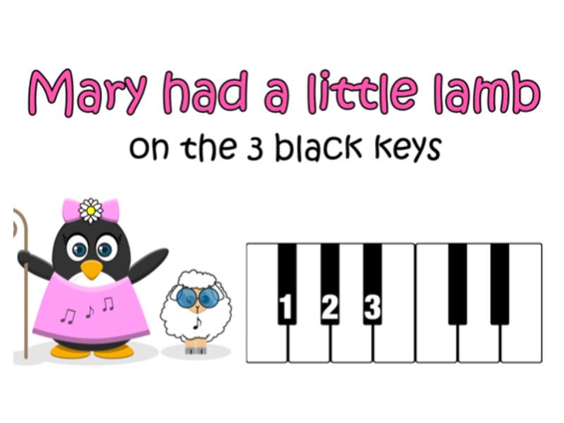 Mary Had a Little Lamb - Easy Piano Score (Black Keys)