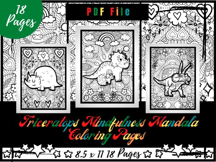 Triceratops Mindfulness Mandala Colouring Pages, Dinosaurs Colouring Printable PDF