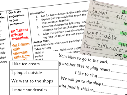 Conjunctions Lesson - YEAR 1- PLANNING AND RESOURCES BUNDLE