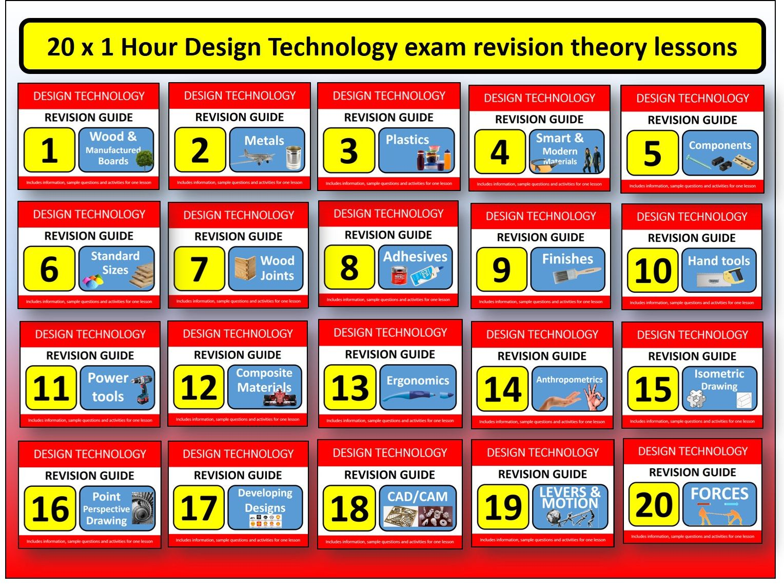 20 x 1 hour GCSE Design Resistant Materials Revision Lessons Exam Questions Tools etc